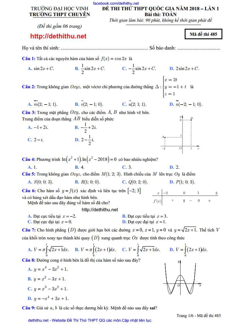 Đề thi thử thpt quốc gia môn toán chuyên ĐH Vinh lần 1 năm 2018