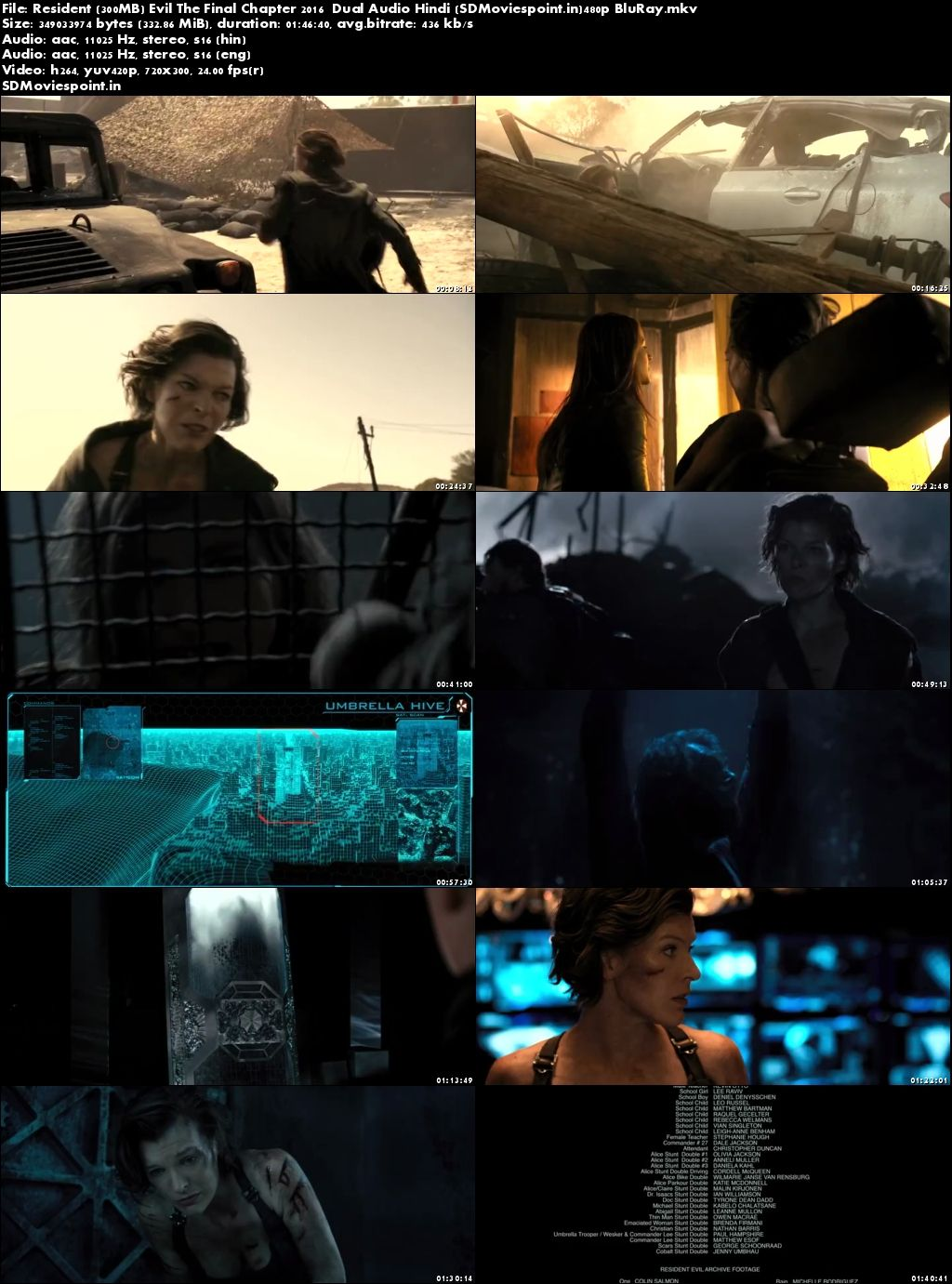 Screen Shots Resident Evil The Final Chapter (2017) Full Hindi Movie Download Dual Audio
