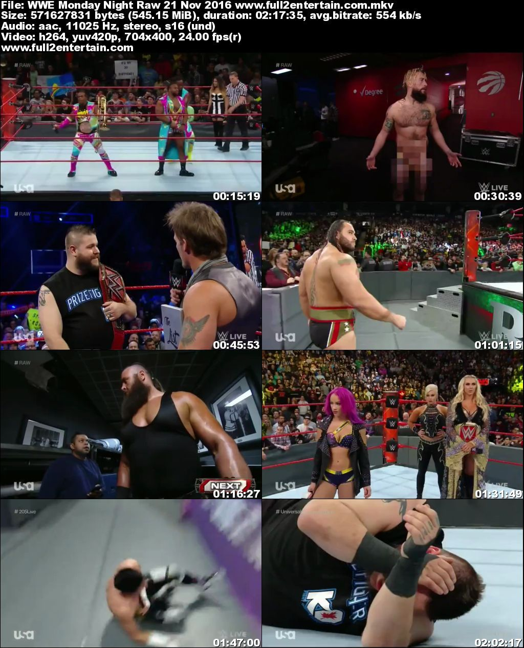 WWE Monday Night Raw 21st November 2016 Full Show Download - 720p Mkv