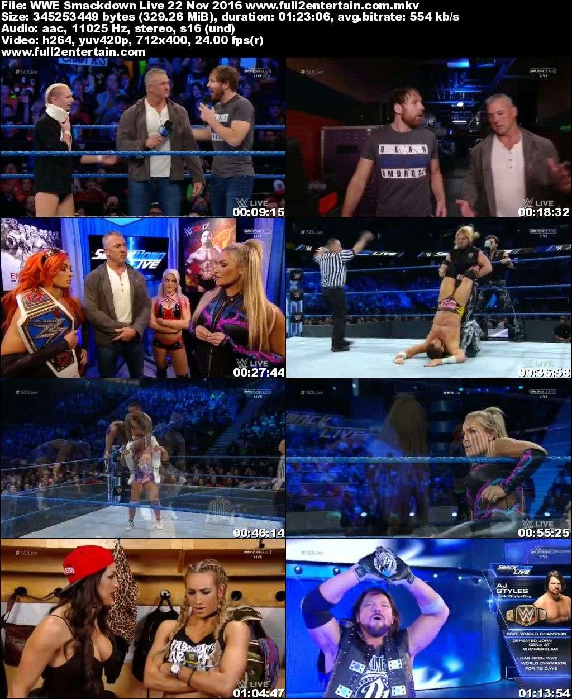 WWE Smack Down Live 22nd November 2016 Full Show Download - 720p Mkv