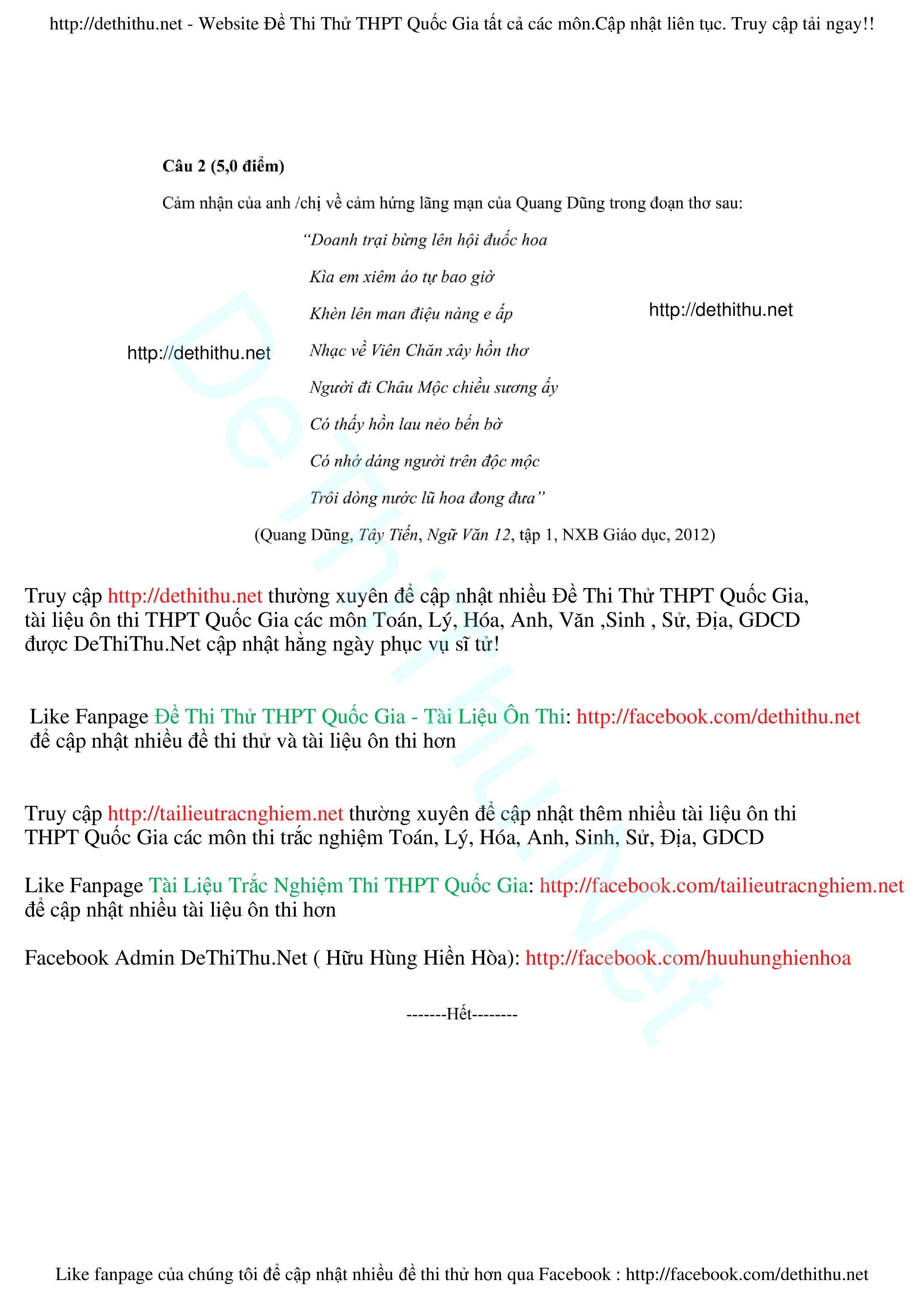 Đề Thi Thử THPT Quốc Gia 2017 môn VĂN  de thi thu dai hoc mon ngu van  Đề thi thử Văn 2017 THPT Hàn Thuyên, Bắc Ninh lần 1