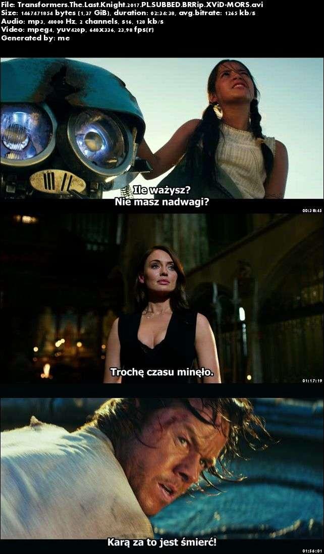 Transformers: Ostatni Rycerz / Transformers The Last Knight (2017) PL.SUBBED.BRRip.XViD-MORS / Napisy PL