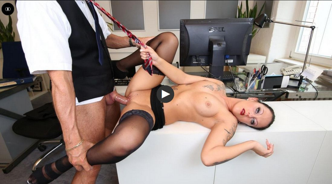 Kate Nox - Sexy tattooed German MILF secretary sucks and fucks boss in hot office fuck  |