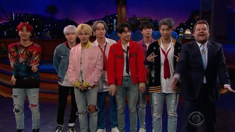 "Watch: BTS Flinches At Fruit And Performs ""DNA"" On ""The Late Late Show With James Corden"""