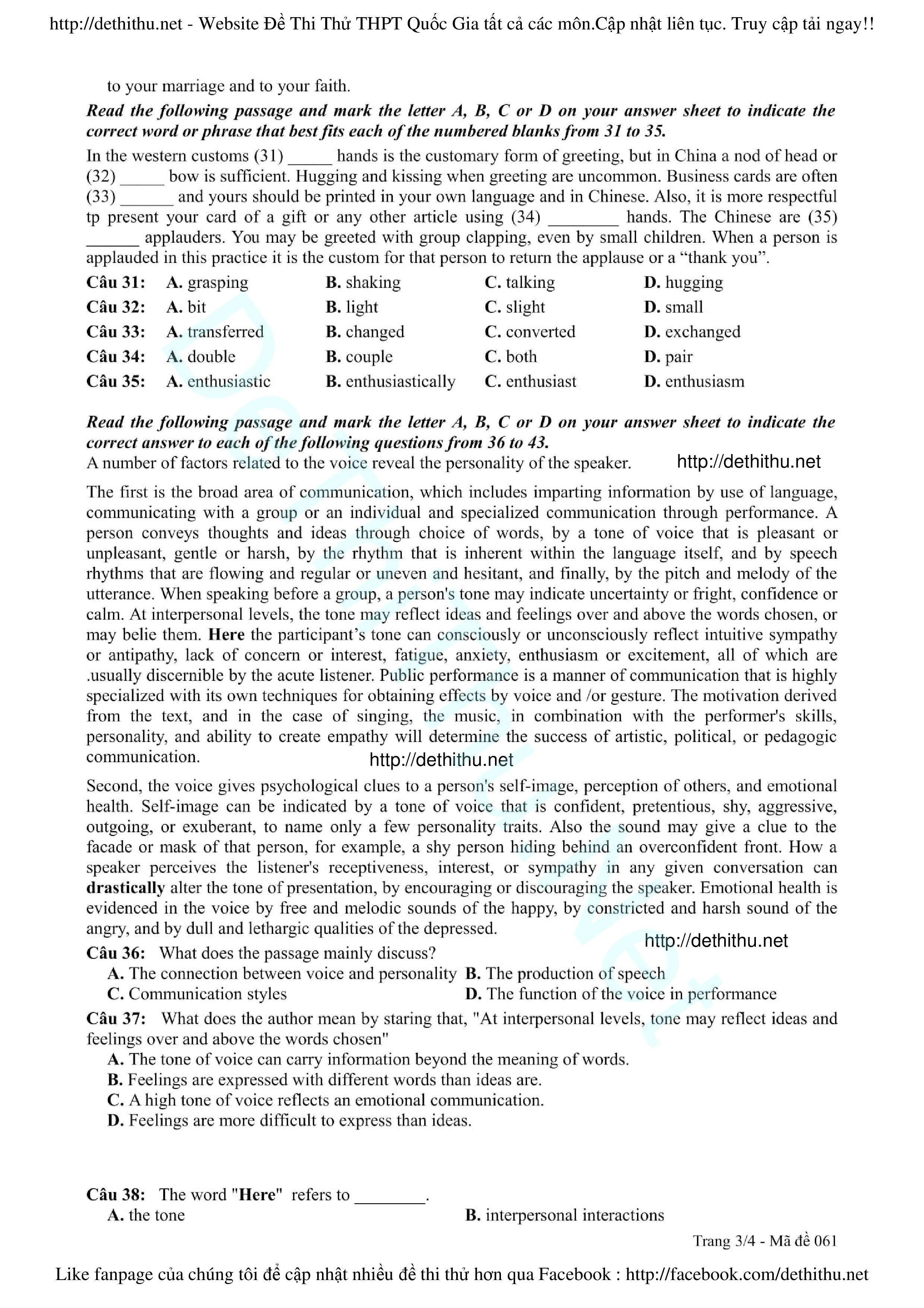 Đề thi thử tiếng Anh 2017 THPT Hàn Thuyên, Bắc Ninh lần 1