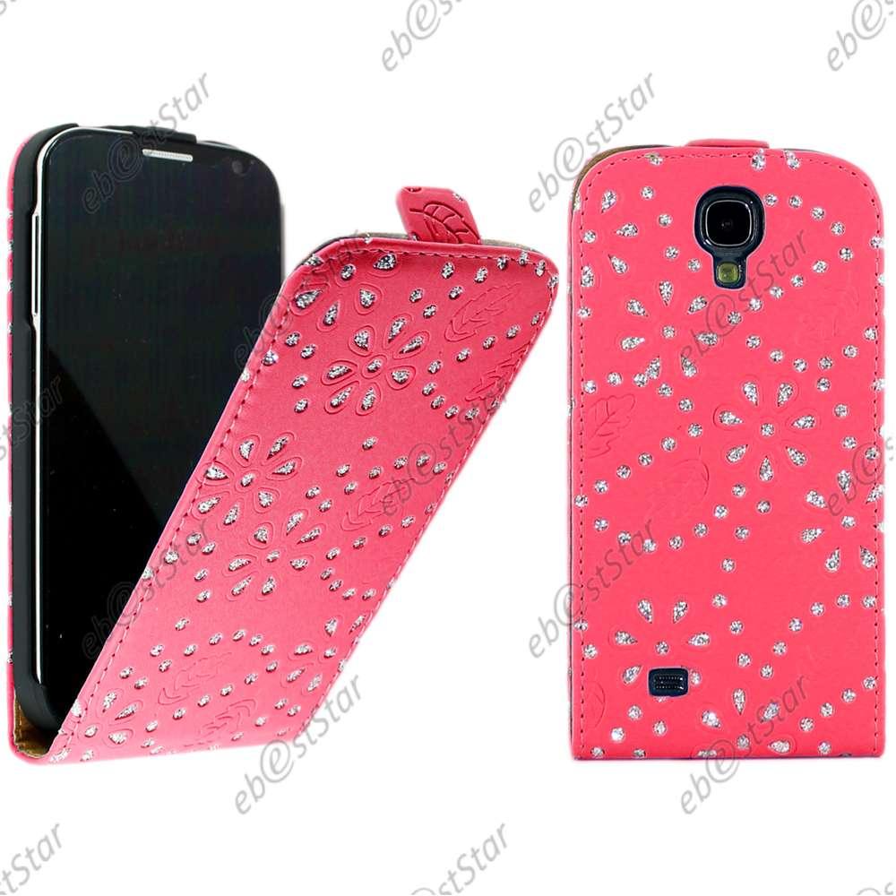 Housse-Coque-Etui-en-PU-cuir-a-rabat-STRASS-Samsung-Galaxy-S4-i9500