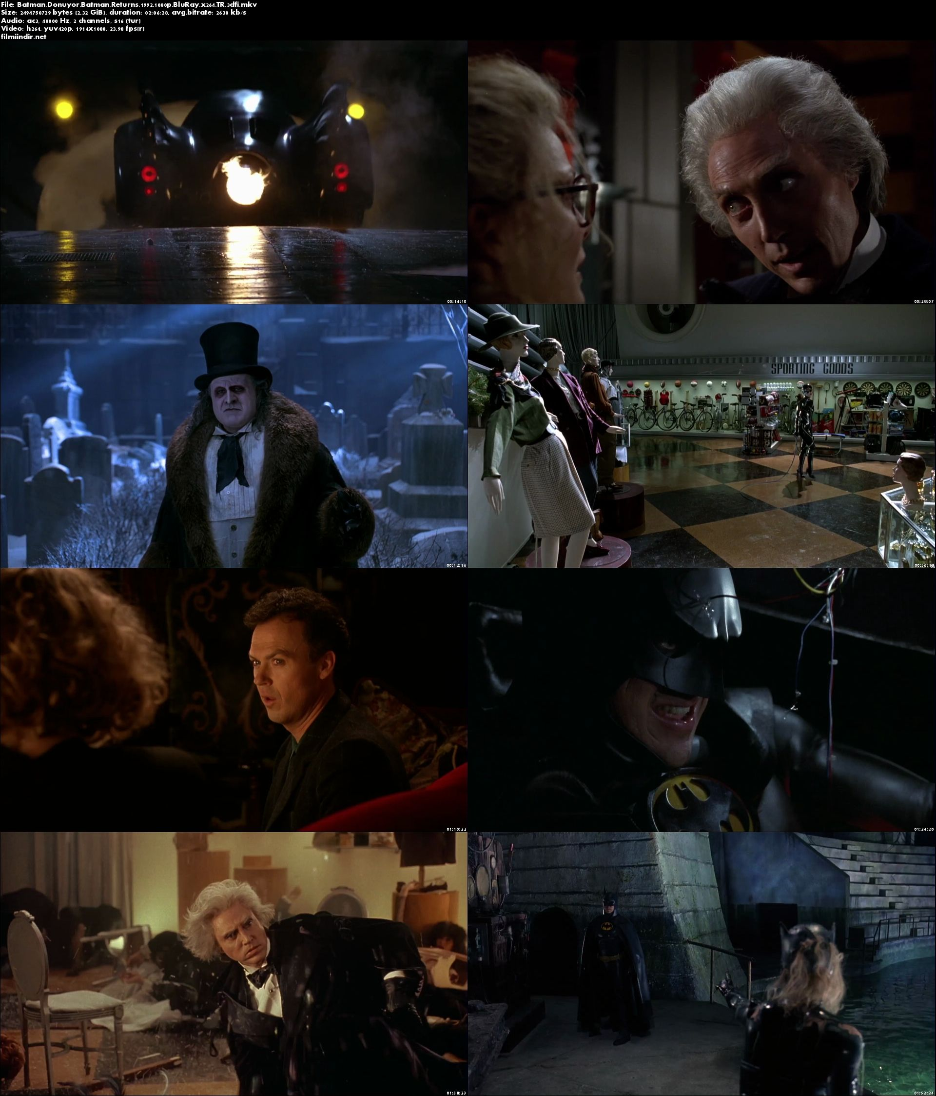 Batman Dönüyor - Batman Returns (1992) full türkçe dublaj film indir