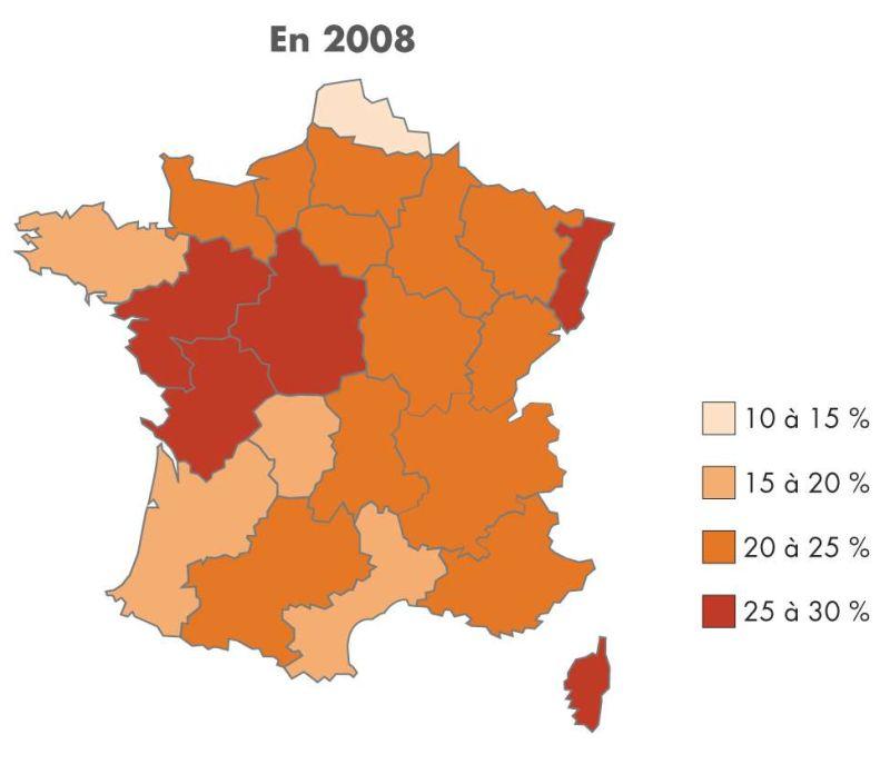 Carte de l'apprentissage par région