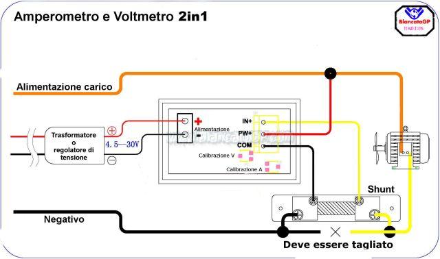 2in1 voltmetro amperometro blancatogp schema collegamenti