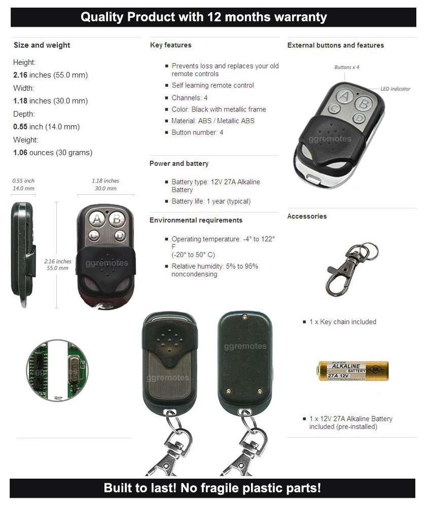 Garage Door Remote Control Kit Fits Ata Txa 1 Amp Ptxa 1 Gdo