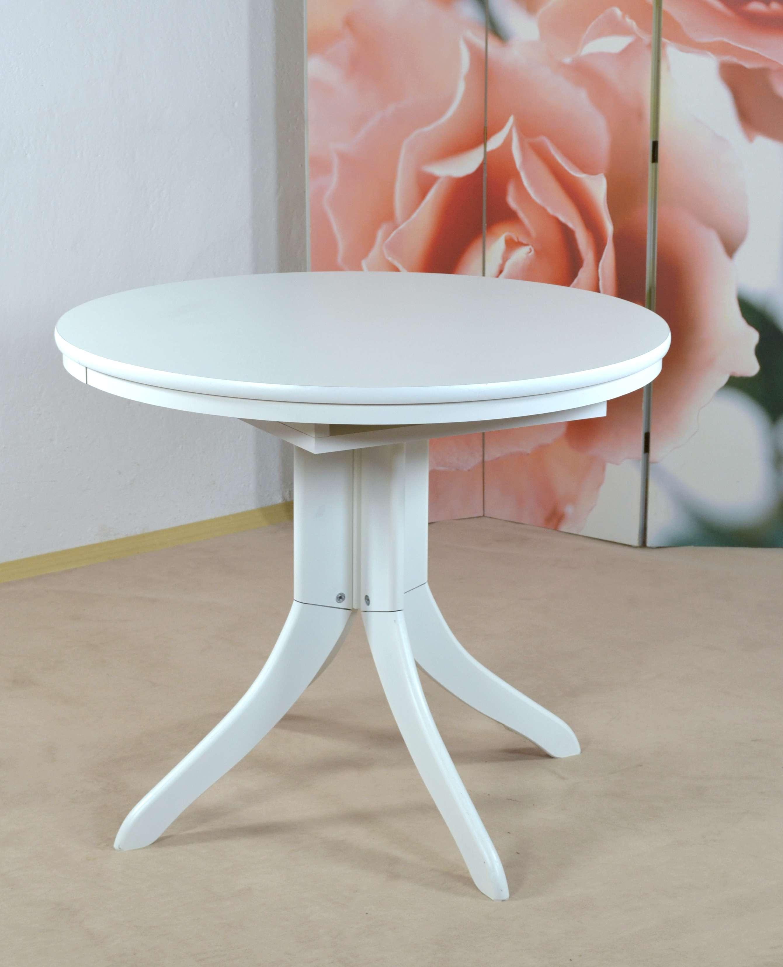 auszugtisch rund wei massiv esszimmertisch tisch k chentisch esszimmer k che ebay. Black Bedroom Furniture Sets. Home Design Ideas
