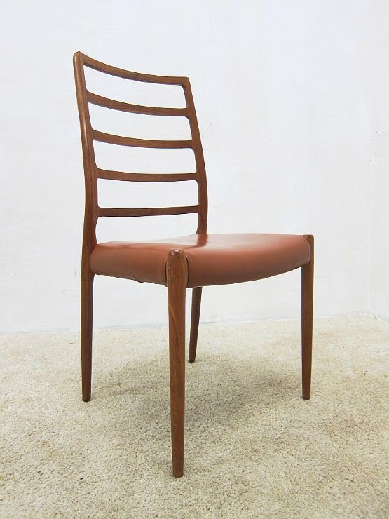 niels o m ller model 82 teak leder stuhl highback danish design 60er jahre ebay. Black Bedroom Furniture Sets. Home Design Ideas