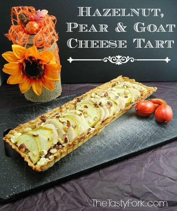 Hazelnut, Pear and Goat Cheese Tart on thetastyfork.com. It's a beautiful & sophisticated fruit tart recipe.