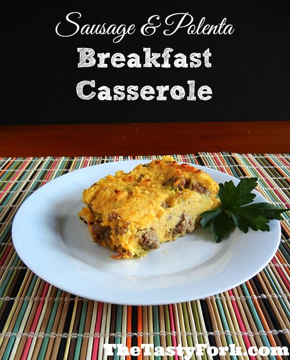 Sausage & Polenta Breakfast Casserole is a healthy way to start your morning! This casserole is filled with cheese, sausage, polenta and eggs. It can be assembled the night before.  #GlutenFree #Breakfast #healthy