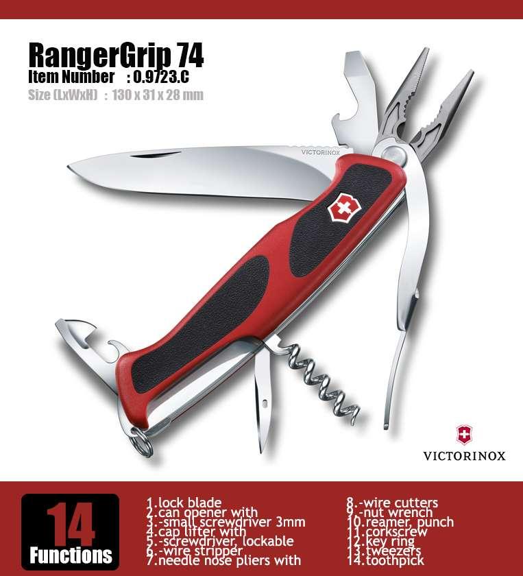 Victorinox Swiss Army Knife 130mm Rangergrip 74 Red Black