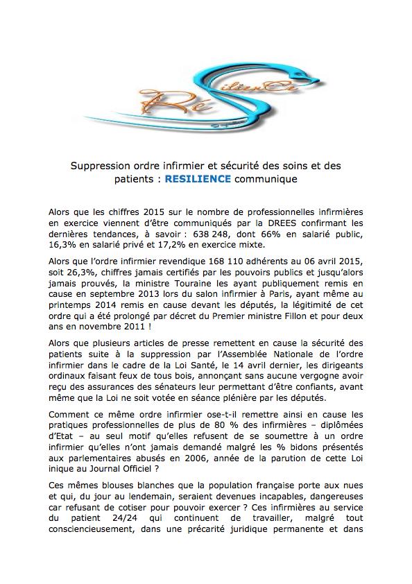 Suppression ordre infirmier et sécurité des soins et des patients : RESILIENCE communique ErkN9S