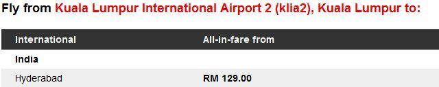 AirAsia Promotion to Hyderabad, India Fares Details