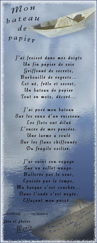 Au Pays Des Images Et Des Mots Poème Mon Bateau De Papier