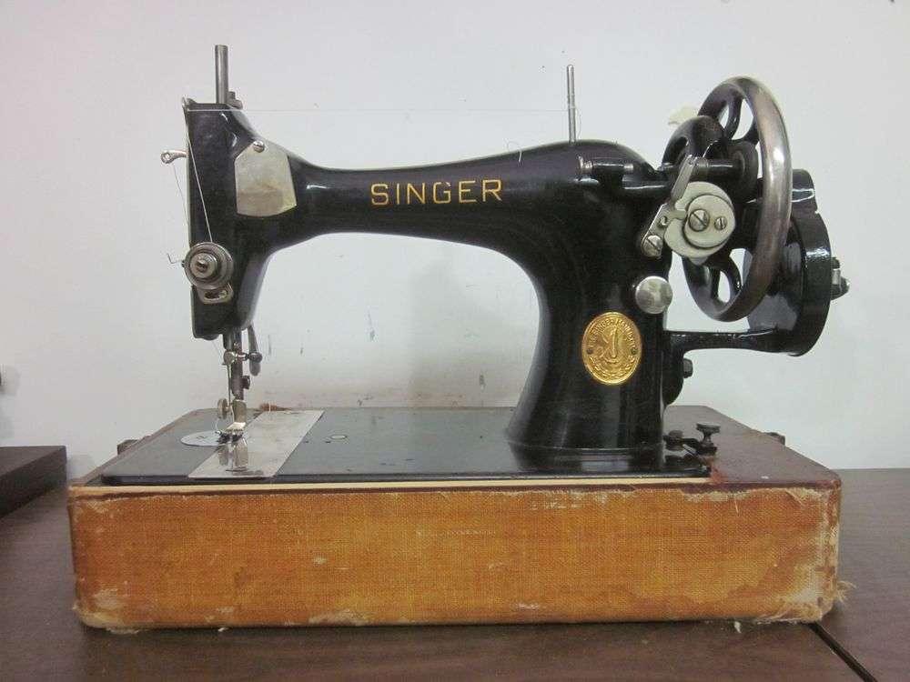 Singer 27 Heavy Duty Hand Crank Sewing Machine Denim