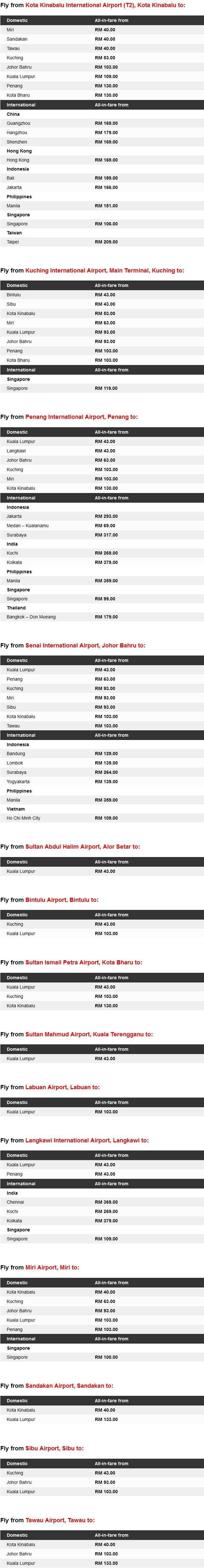 AirAsia Fly-Thru Low Fares Details