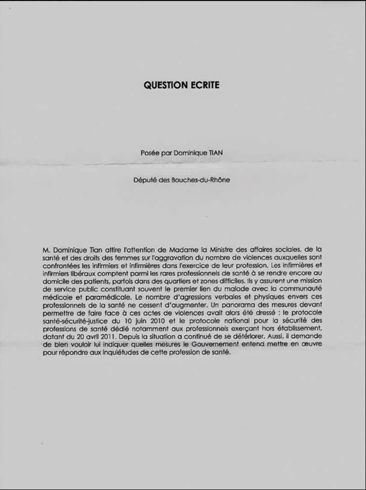 Insécurité : P CHAMBOREDON président du Conseil Régional Paca de l'Ordre Infirmier sollicite un député pour une question à la ministre de la Santé 2Yfjyq
