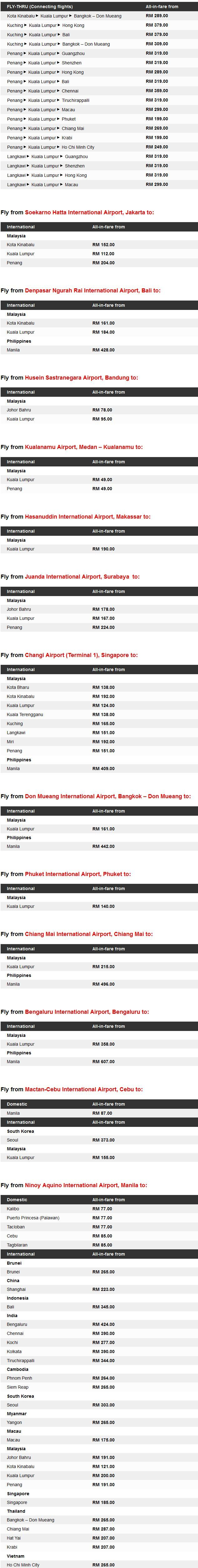 AirAsia Amazing Year End Fares Details