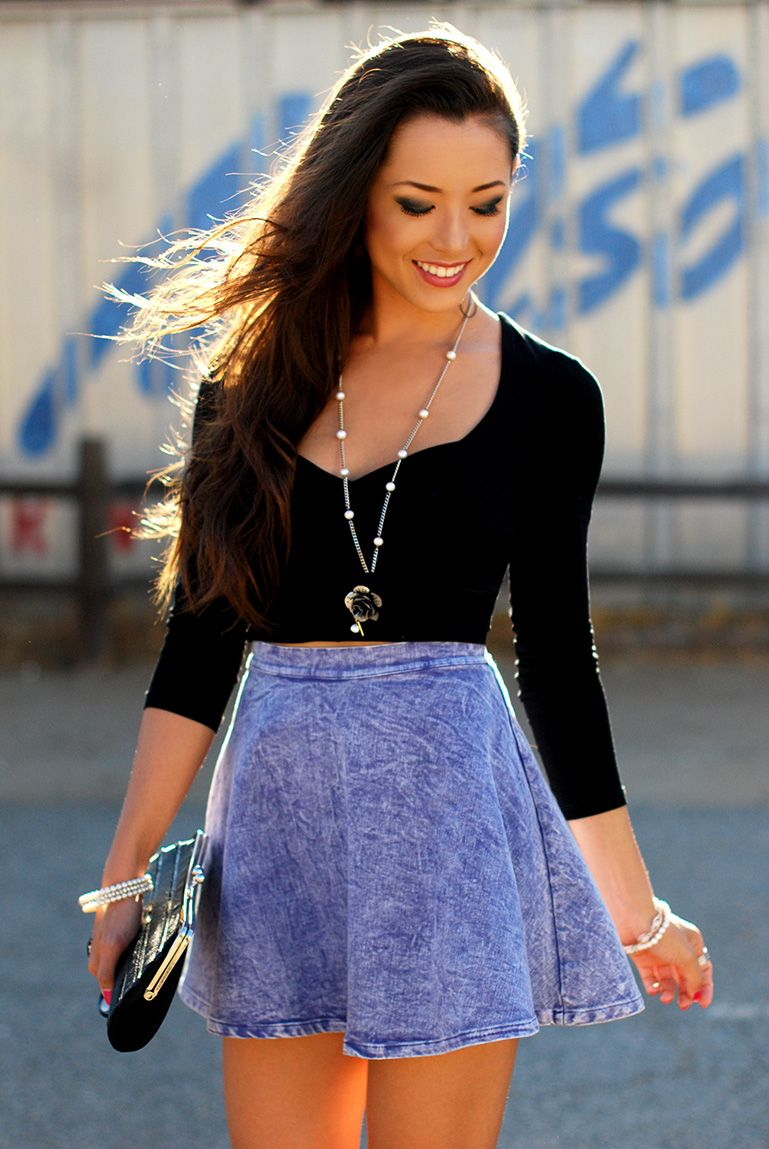 lilac denim skirt