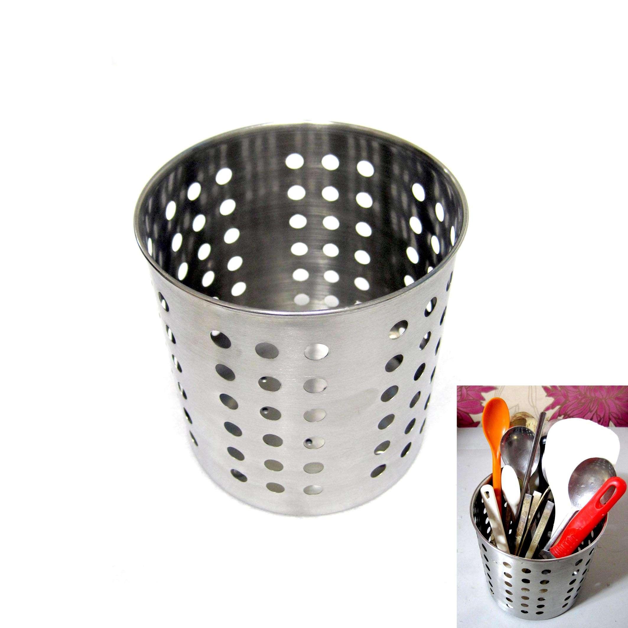 New Round Stainless Steel Cutlery Storage Holder Utensil