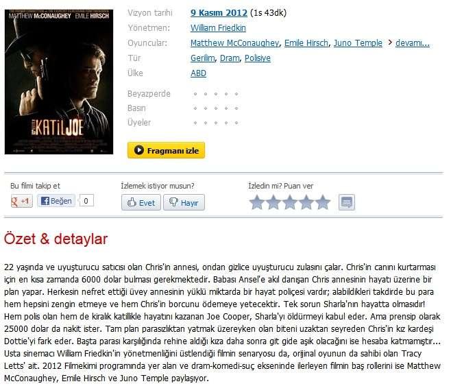 Katil Joe - 2011 BDRip XviD - Türkçe Altyazılı Tek Link indir
