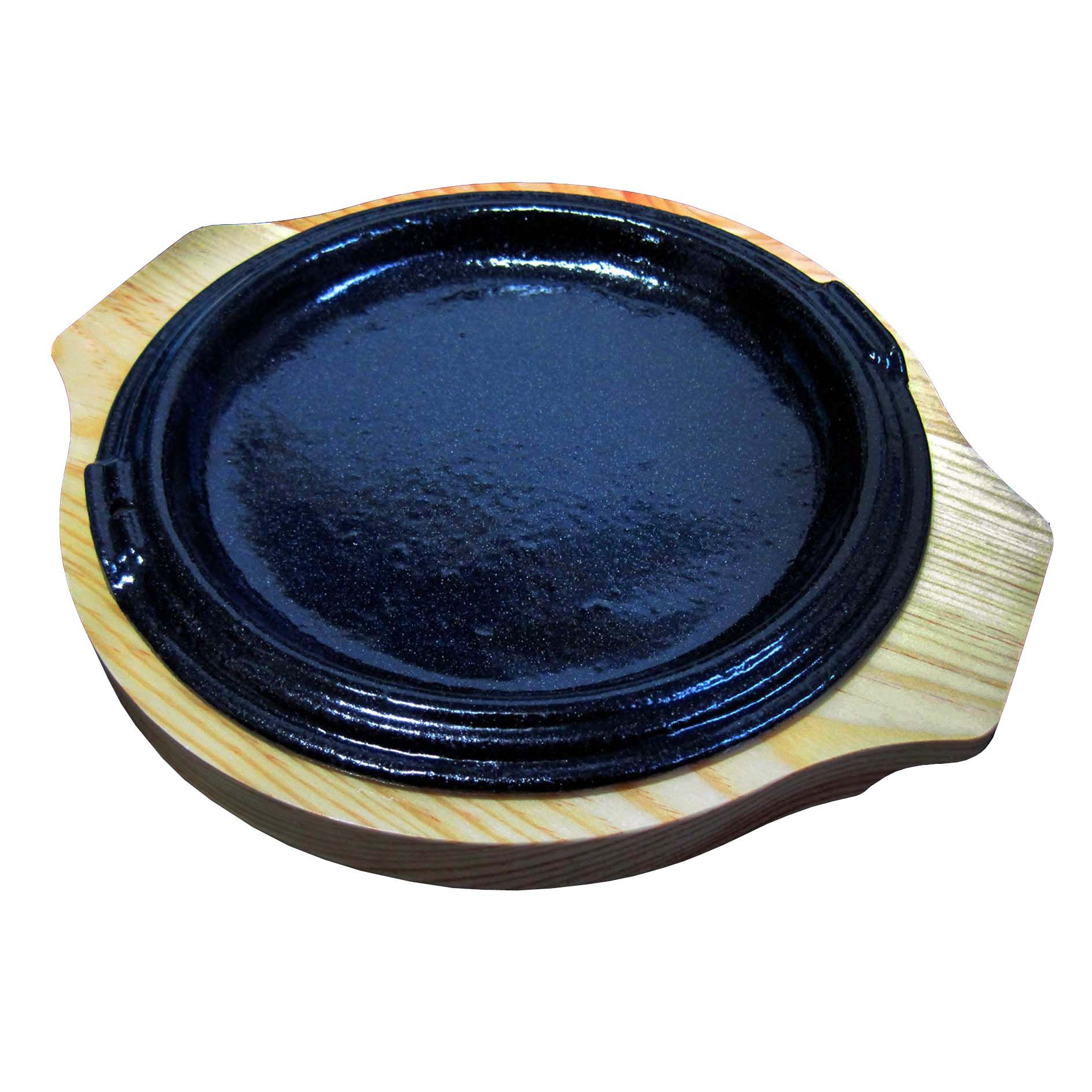 Small Round Cast Iron Steak Plate With Heat Proof Wood