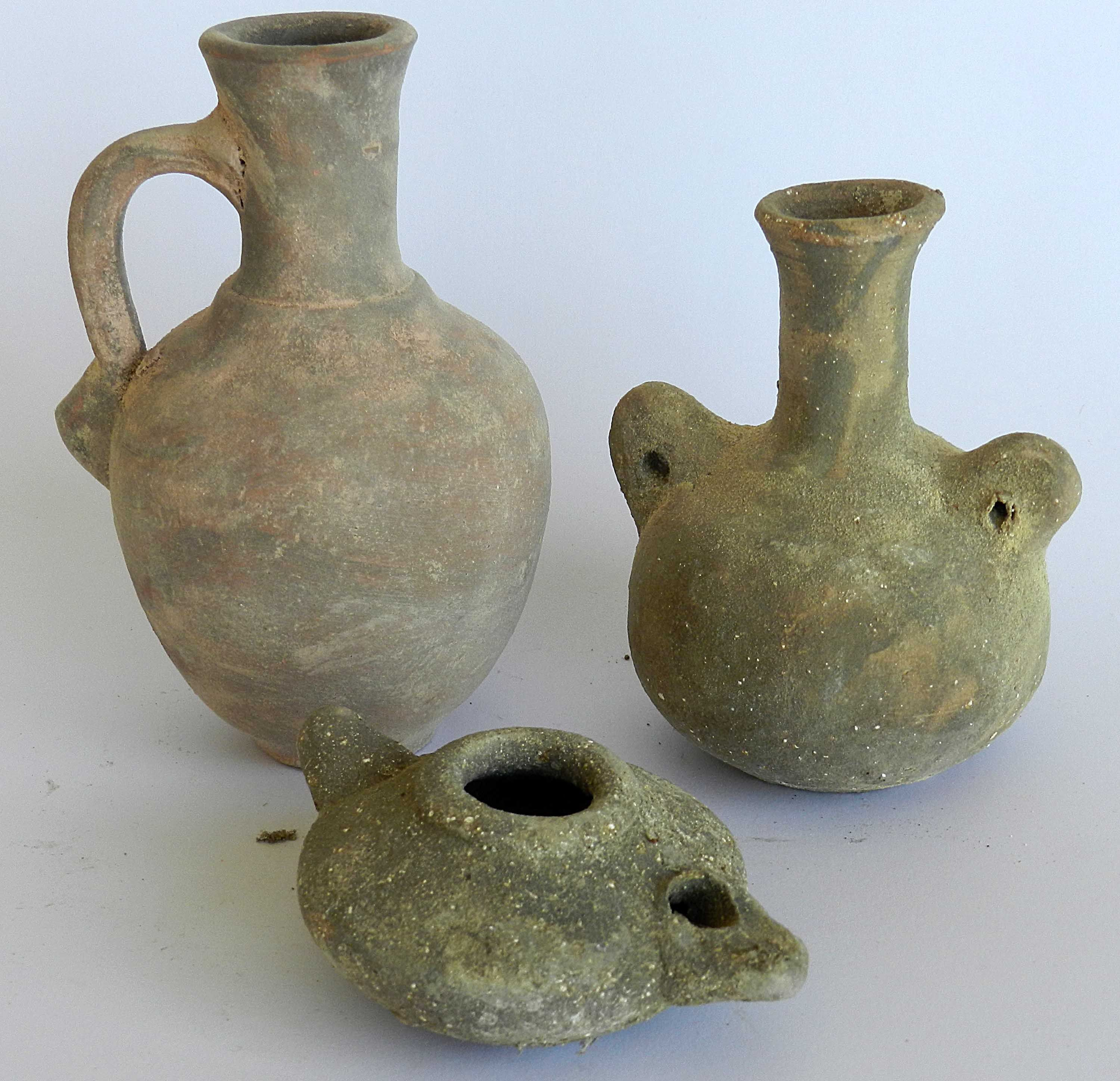 3 Lot Biblical Antique Jugs Oil Lamp Roman Byzantine Clay