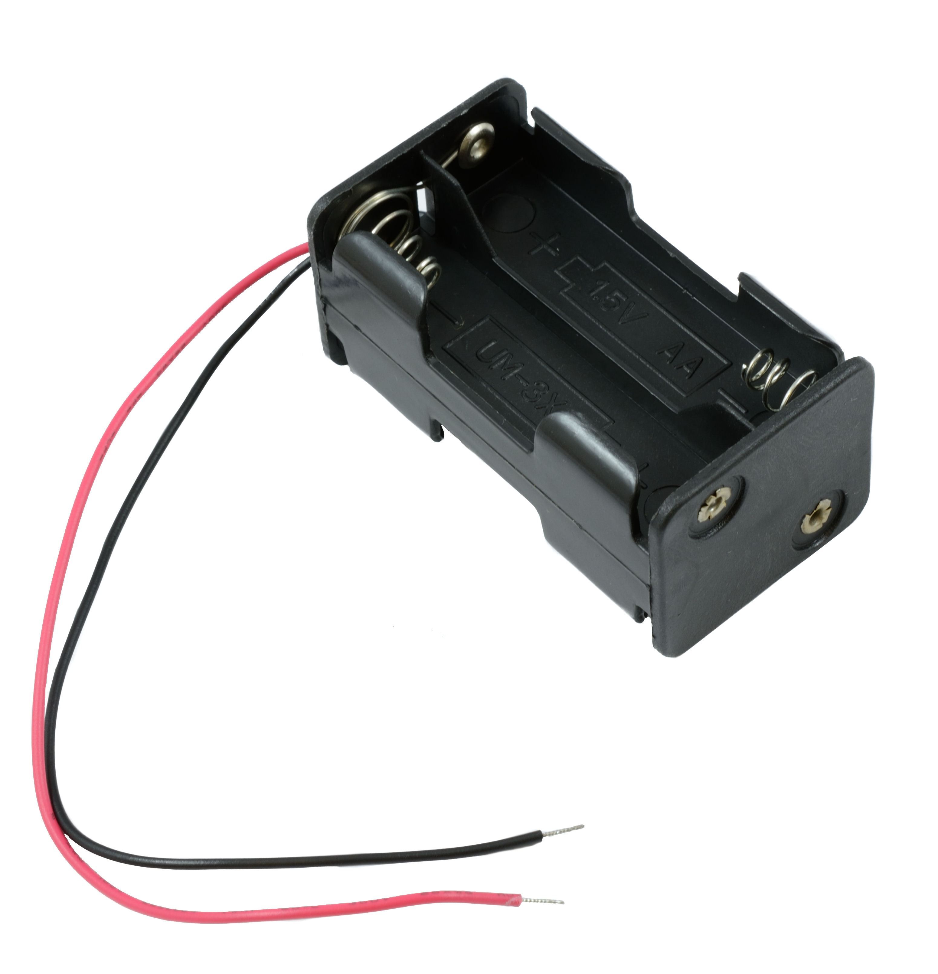 AA x 2 Open Battery Holder Box 15cm Wires Black