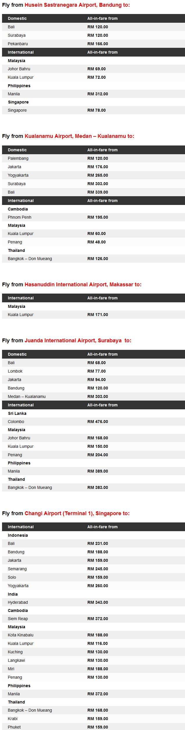 AirAsia promo Fares