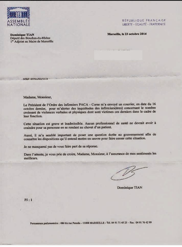 Insécurité : P CHAMBOREDON président du Conseil Régional Paca de l'Ordre Infirmier sollicite un député pour une question à la ministre de la Santé Kf8bgX