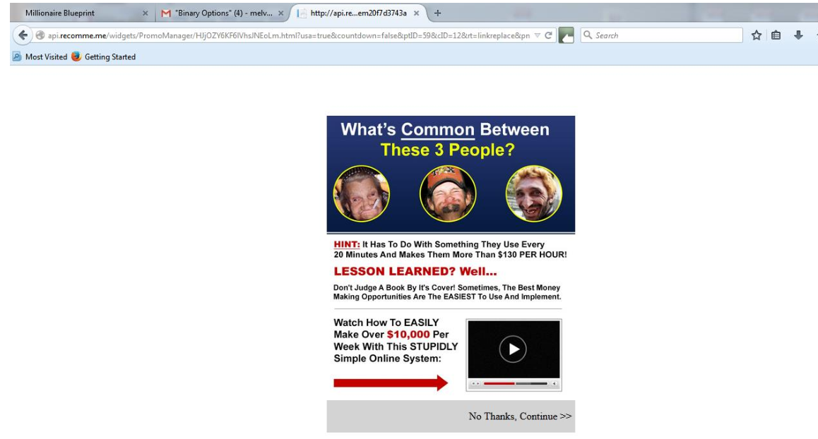 Api.recomme.me pop-up ads