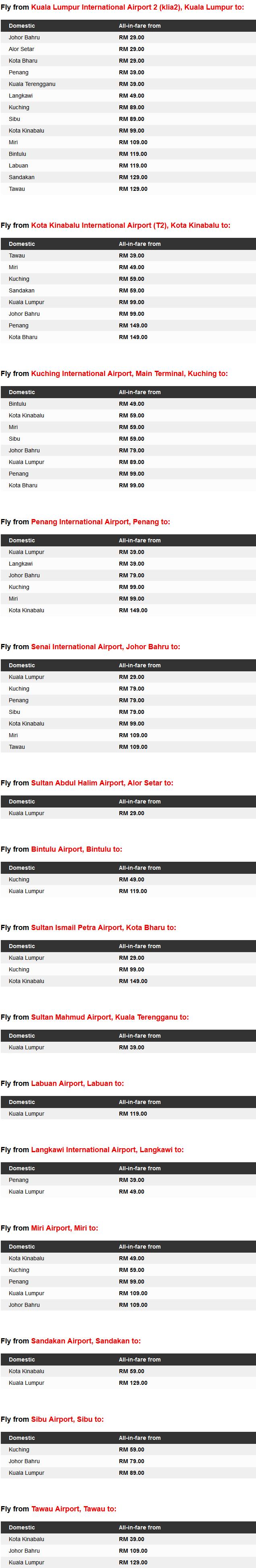 AirAsia Promo Fares Details
