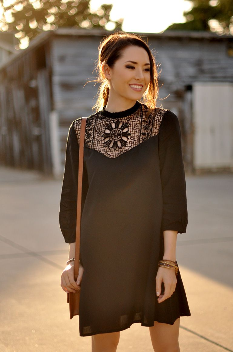 black dress_crochet detailing_dress_bohemian outfit_spring outfit