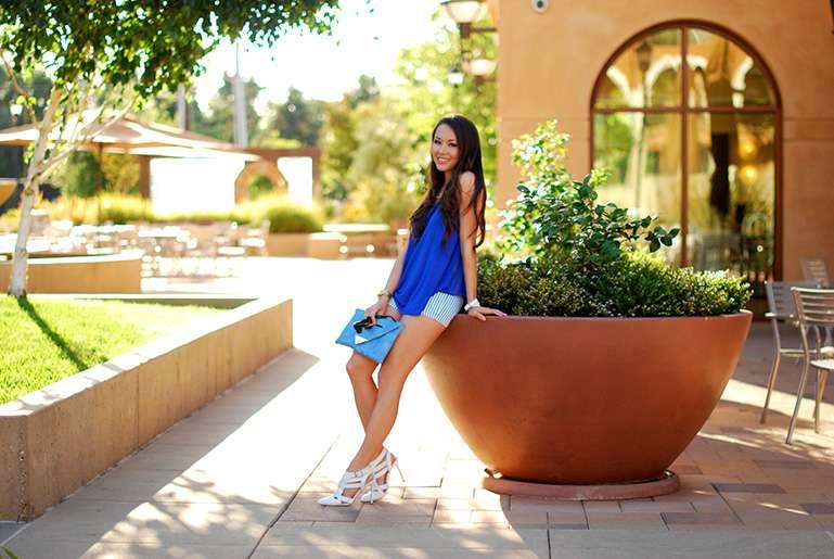 stripe blue shorts