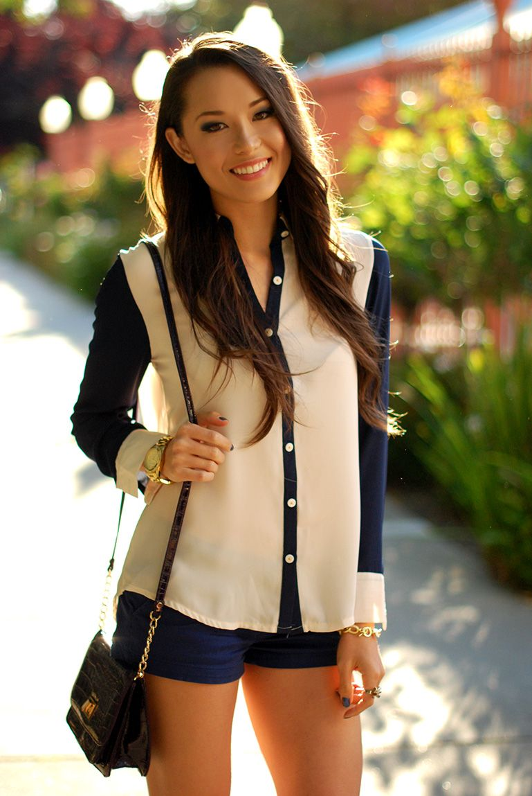navy and beige shirt