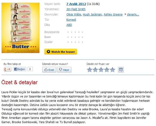Butter - 2011 BDRip XviD - Türkçe Altyazılı Tek Link indir