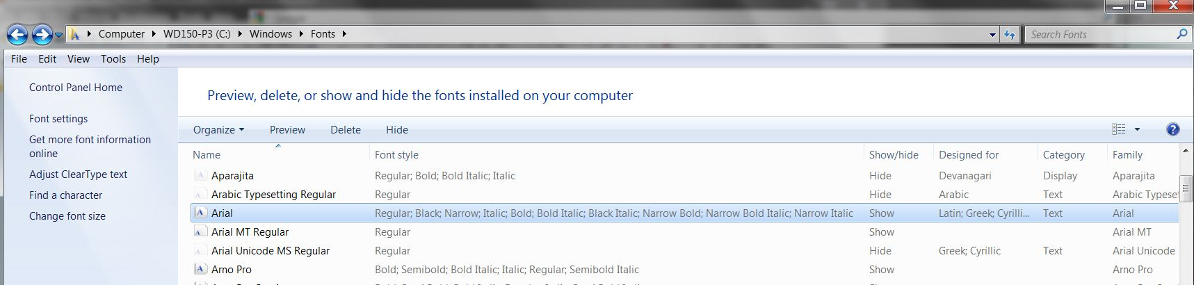 Problem with Arial Bold Font - Windows 7 Help Forums