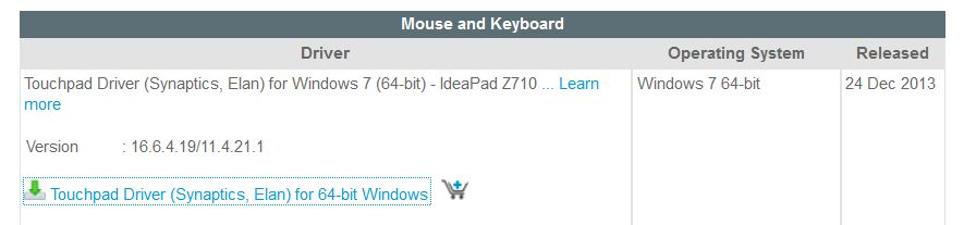 Friend's new Lenovo Ideapad Z710 refuses to install touchpad