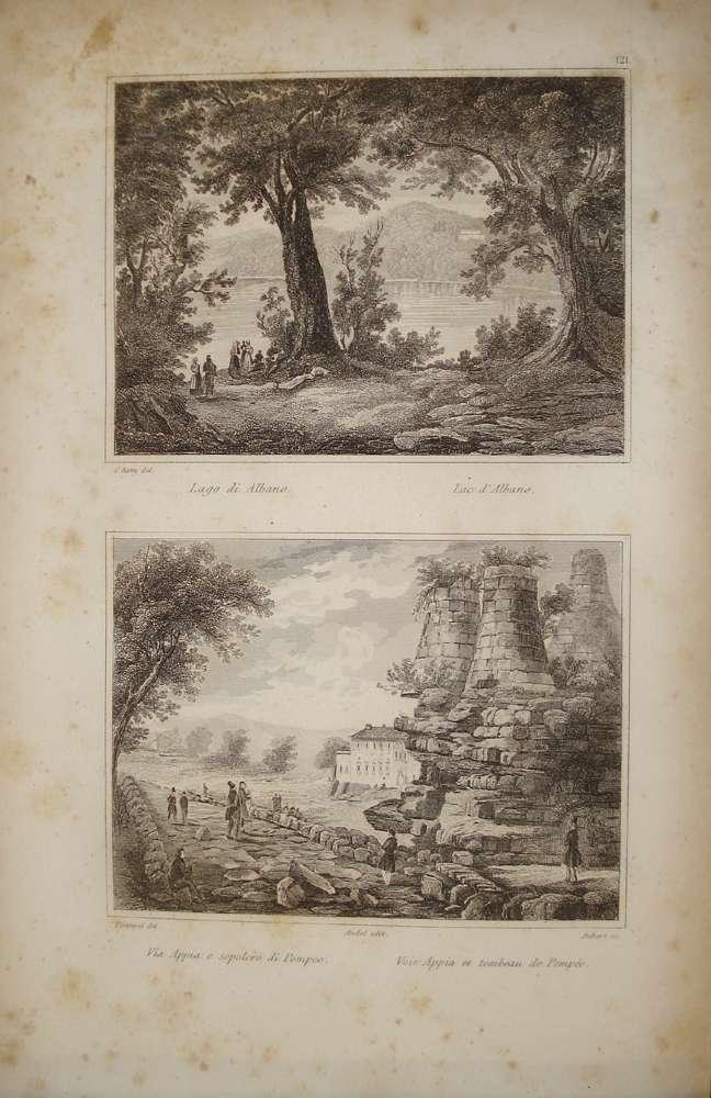 1836 Roma: Via Appia e Sepolcro di Pompeo Acciaio Stampa Antica Audot