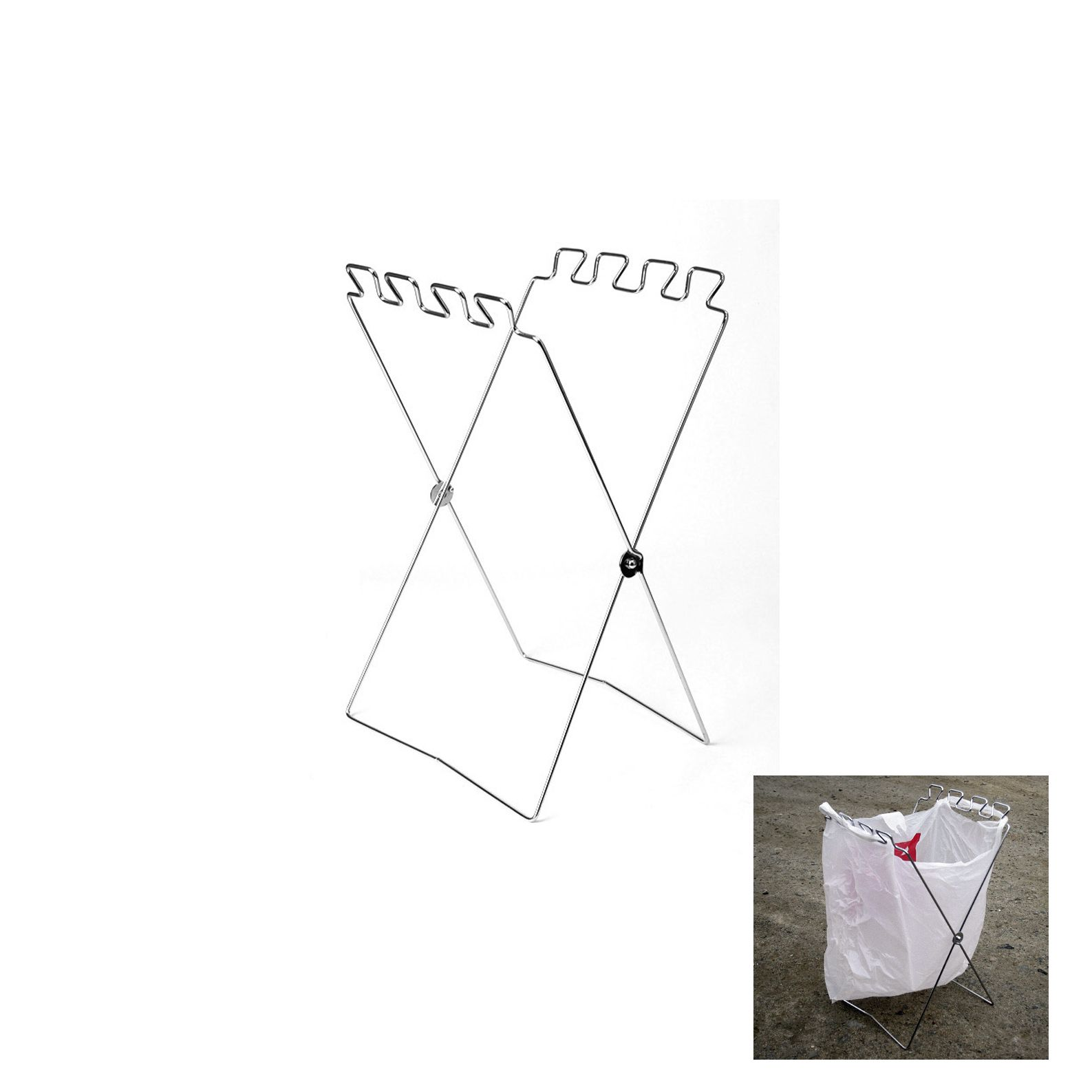 Folding Stainless Wire Plastic Trash Bag Hooks Standing