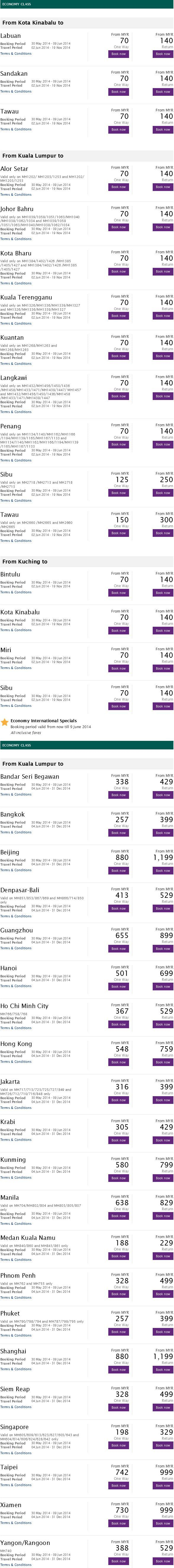 Malaysia Airlines June Promotion Details