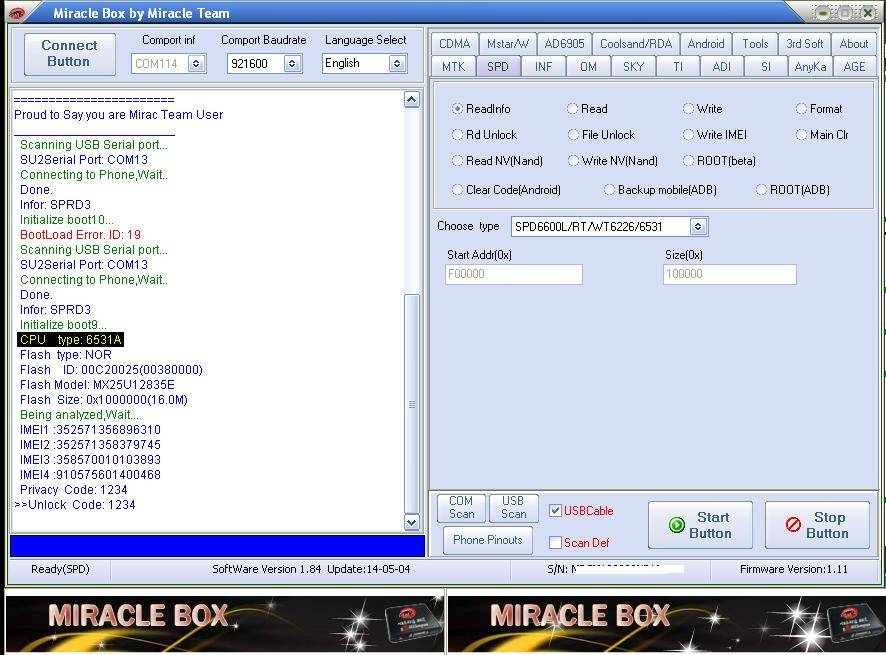 Spd 6531 IMEI Repair don by Miracle Box - GSM-Forum
