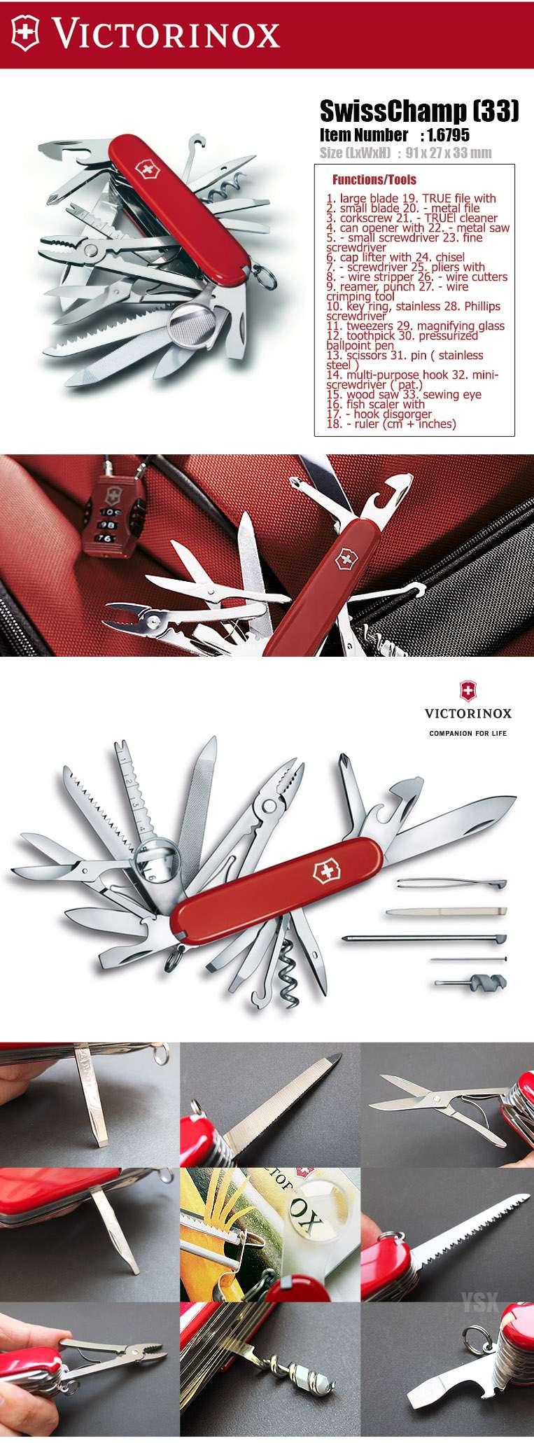 Victorinox Swiss Army Knife 91mm Red Swisschamp 33 Toolbox