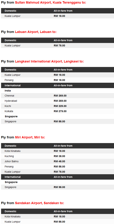 AirAsia RM18 Promo Fares