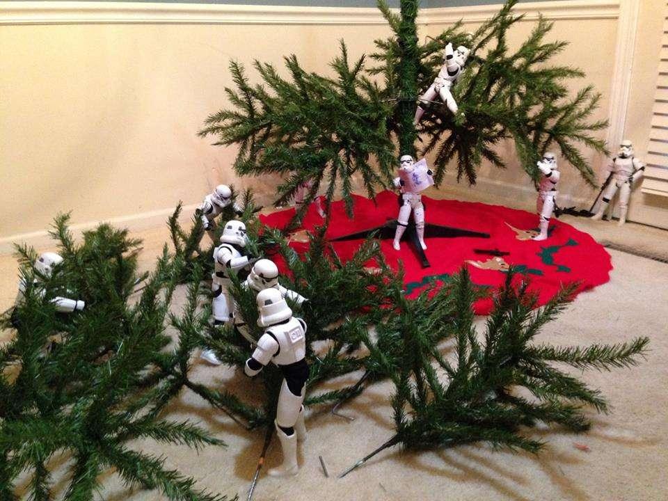 Des stromtroopers assemblent branches sur sapin de noel