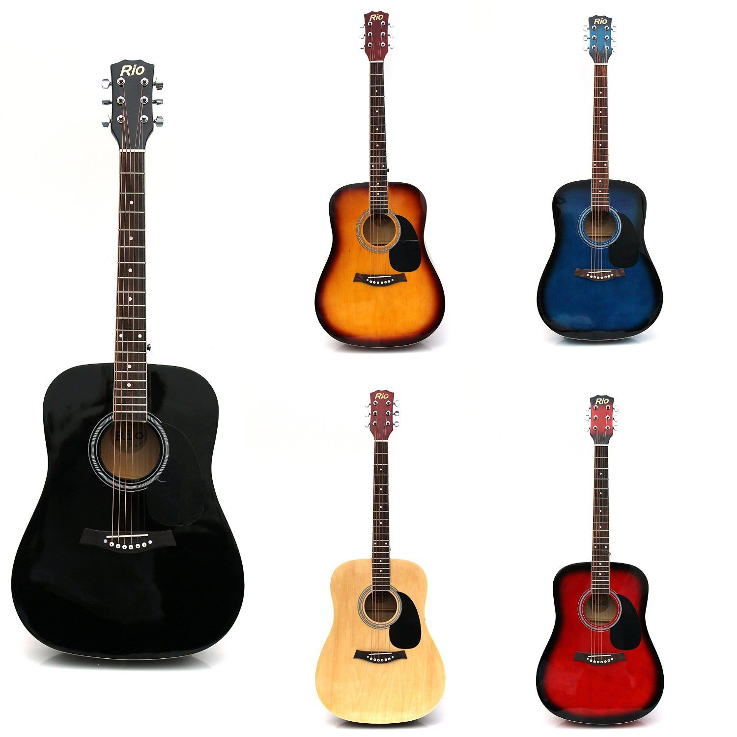Basic Acoustic Guitars : rio 4 4 full size student adult beginner acoustic guitar package pack outfit new ebay ~ Hamham.info Haus und Dekorationen